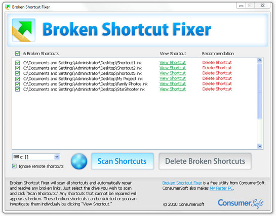 Broken Shortcut Fixer Screenshot